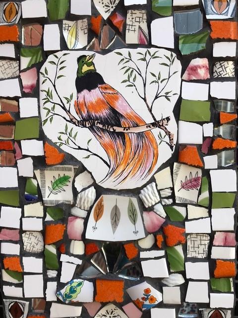 Make a mosaic garden wall plaque